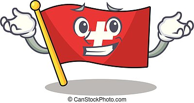 Grinning flag switzerland isolated in the character