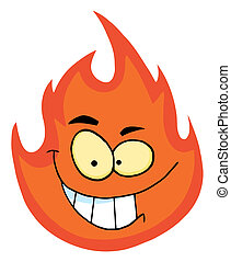 Grinning Flame Character  - Grinning Flame Cartoon Character
