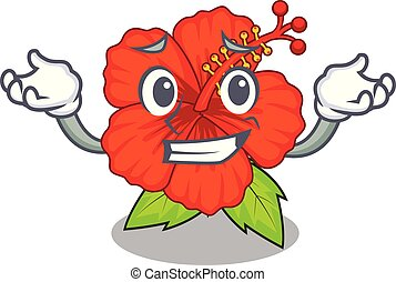 Grinning flower hambiscus in a cartoon pot