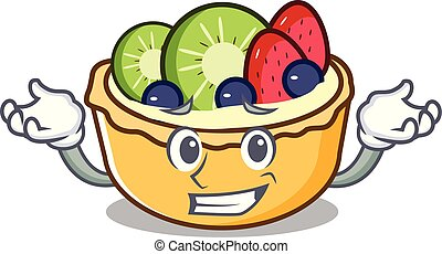 Grinning fruit tart character cartoon