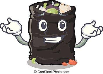 Grinning garbage bag in the cartoon shape vector illustration