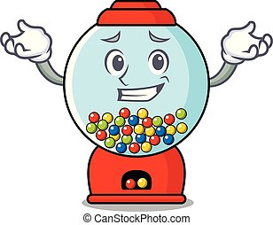 Grinning gumball machine character cartoon