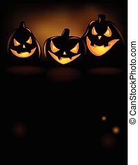 Grinning Halloween lantern - Halloween Illustration with...