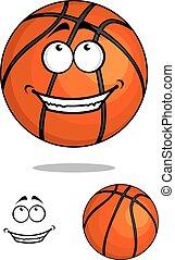 Grinning happy cartoon basketball ball