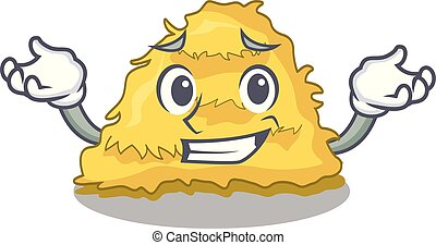 Grinning hay bale character cartoon vector illustration