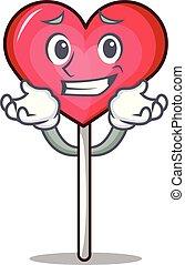 Grinning heart lollipop character cartoon vector ...