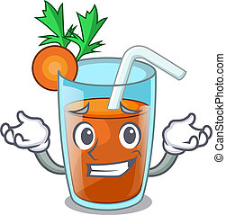 Grinning homemade carrot smoothie in cartoon glass