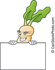 Grinning horseradish cartoon character style hides behind a board. Vector illustration