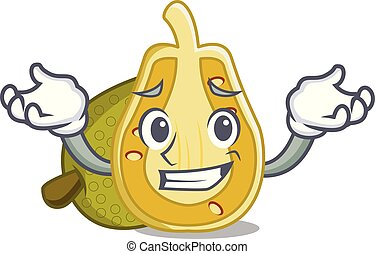 Grinning jackfruit character cartoon style vector...