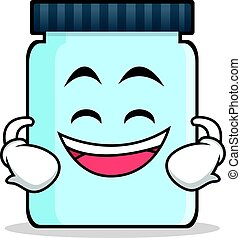 Grinning jar character cartoon style