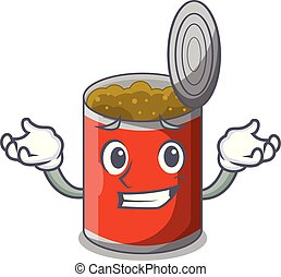 Grinning metal food cans on a cartoon vector illustration