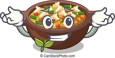 Grinning minestrone is served in cartoon bowl