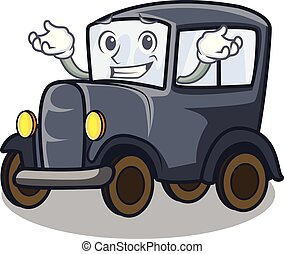 Grinning old car isolated in the cartoon