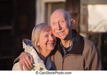 Grinning Older Couple - Grinning older couple embracing ...