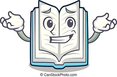 Grinning opened book isolated in the character