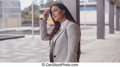 Grinning optimistic business woman - Beautiful optimistic...