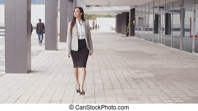 Grinning optimistic professional woman walking - Beautiful...