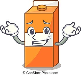 Grinning package juice character cartoon vector illustration