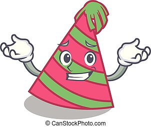 Grinning party hat character cartoon vector illustration