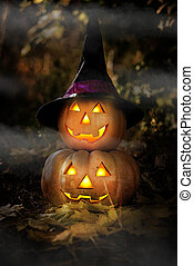 Grinning pumpkin lantern or jack-o'-lantern is one of the...
