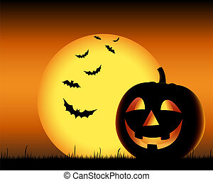 Grinning pumpkin with bats on backgound halloween vector eps...