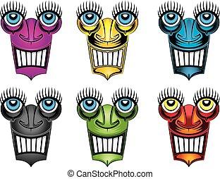 grinning robot face design