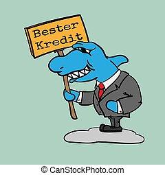 Grinning shark businessman