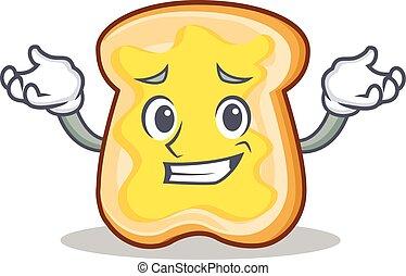 Grinning slice bread cartoon character vector art...