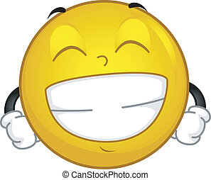 Grinning Smiley - Illustration of a Smiley Flashing a Big...