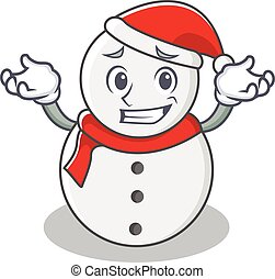 Grinning snowman character cartoon style