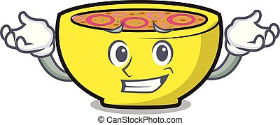 Grinning soup union character cartoon