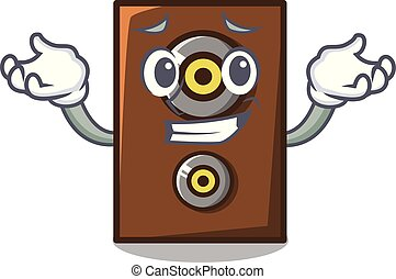 Grinning speaker character cartoon style