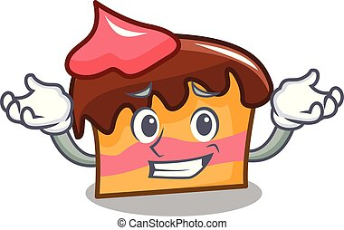 Grinning sponge cake character cartoon vector illustration