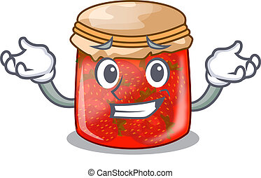 Grinning strawberry marmalade in glass jar of cartoon