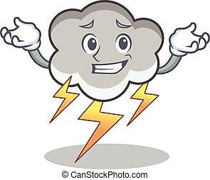 Grinning thunder cloud character cartoon vector illustration