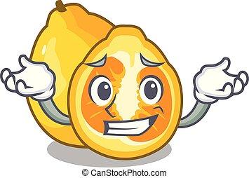 Grinning ugli in the mascot fruit basket illustration vector