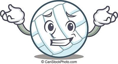 Grinning volley ball character cartoon vector illustration