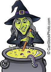 Grinning Witch Stirring Cauldron - Cartoon illustration of a...