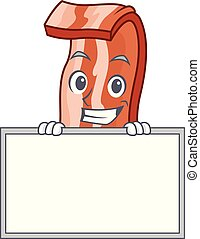 Grinning with board bacon character cartoon style vector...