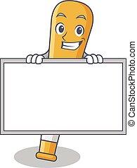 Grinning with board baseball bat character cartoon