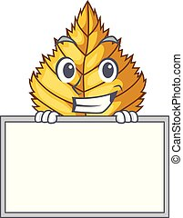 Grinning with board birch leaf in the mascot shape vector...