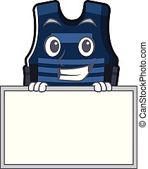 Grinning with board bulletprof vest isolated in the mascot