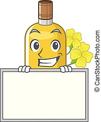 Grinning with board canola oil isolated with the cartoon ...