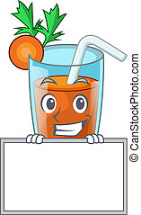 Grinning with board character healthy carrot smoothie for diet