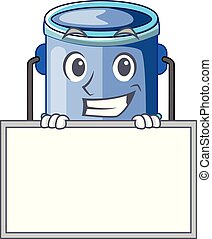 Grinning with board cylinder bucket Cartoon of for liquid