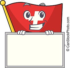 Grinning with board flag switzerland with the mascot shape