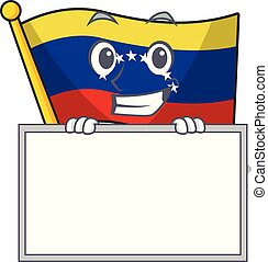 Grinning with board flag venezuela with the cartoon shape