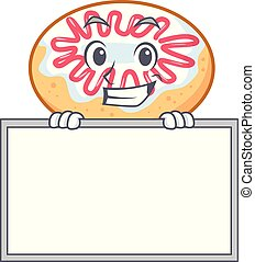 Grinning with board jelly donut character cartoon vector...