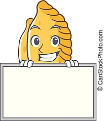 Grinning with board pastel character cartoon style vector ...