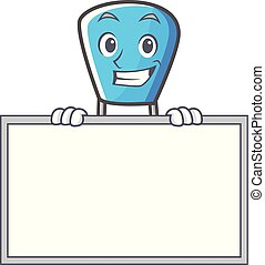 Grinning with board safety pin character cartoon